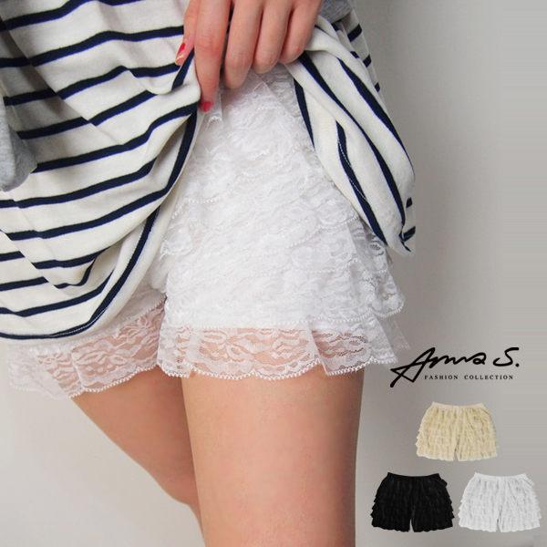 Anna S. 安全褲 超彈性蕾絲花網蛋糕層次內搭 韓