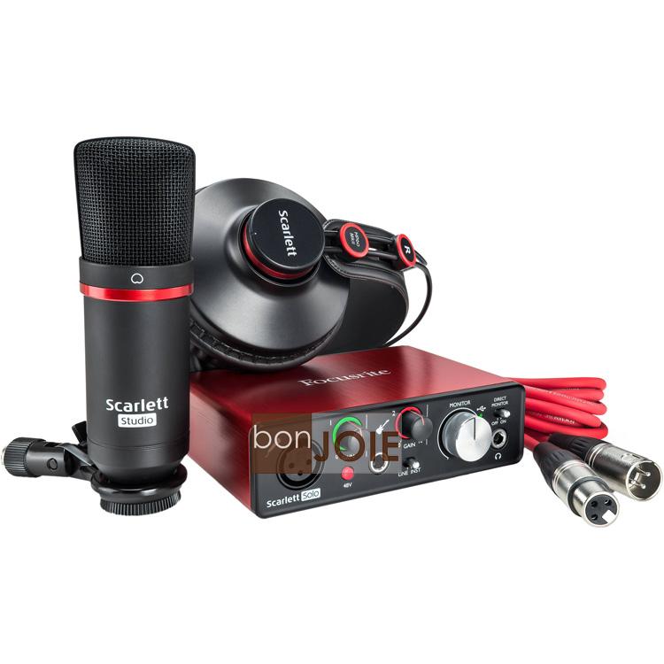 ::bonJOIE:: 美國進口 第二代 Focusrite Scarlett Solo Studio Pack (2nd Gen) 數位錄音套件 (含 Scarlett solo 錄音介面 麥克風 耳機) 錄音卡套件