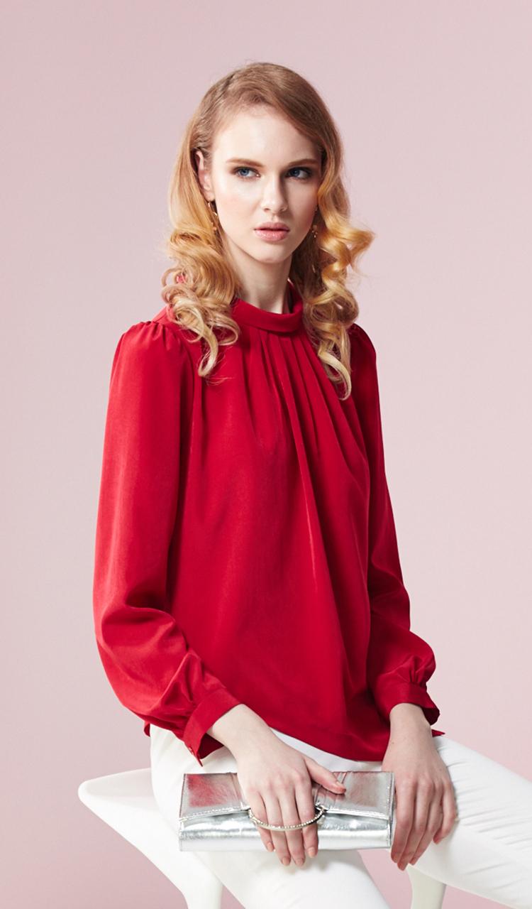 林廷芬服裝設計-Hannah-v -紅色圓領胸前抓皺澎袖設計上衣