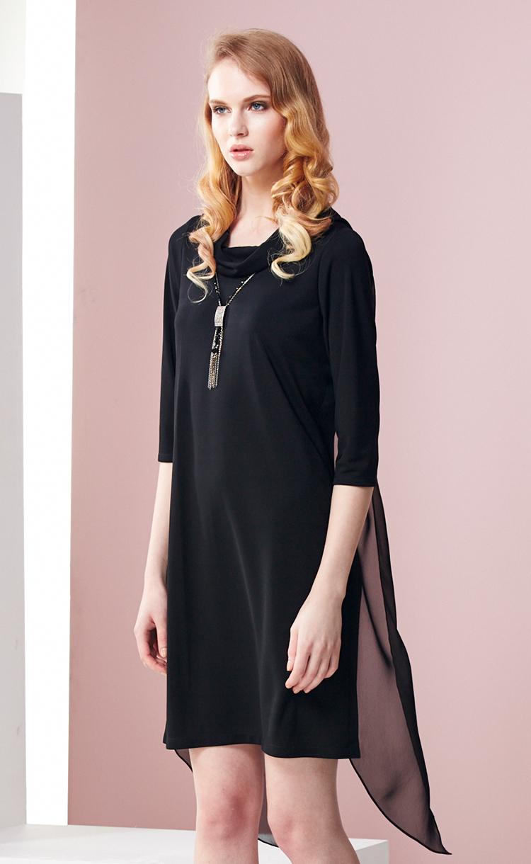 林廷芬服裝設計-Catherine-背部雪紡設計顯高挑修飾身形