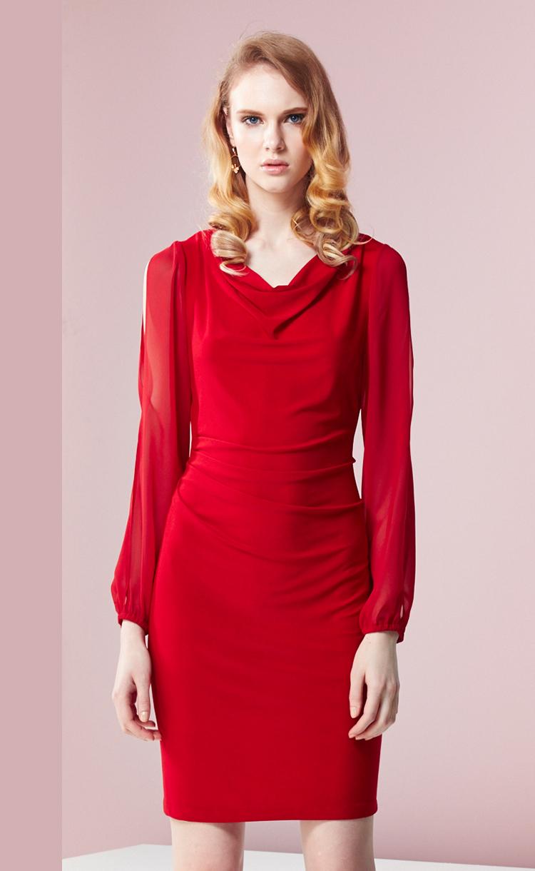 林廷芬服裝設計-Helen Vari-垂領設計腰際皺褶修飾小腹紅色洋裝