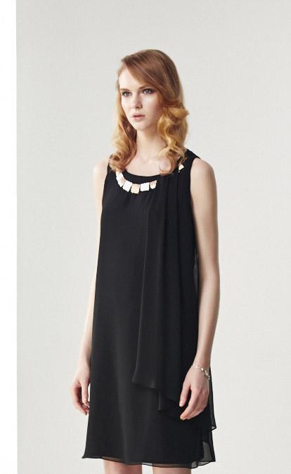 林廷芬服裝設計-Jamie-黑色雪紡飄逸顯瘦洋裝