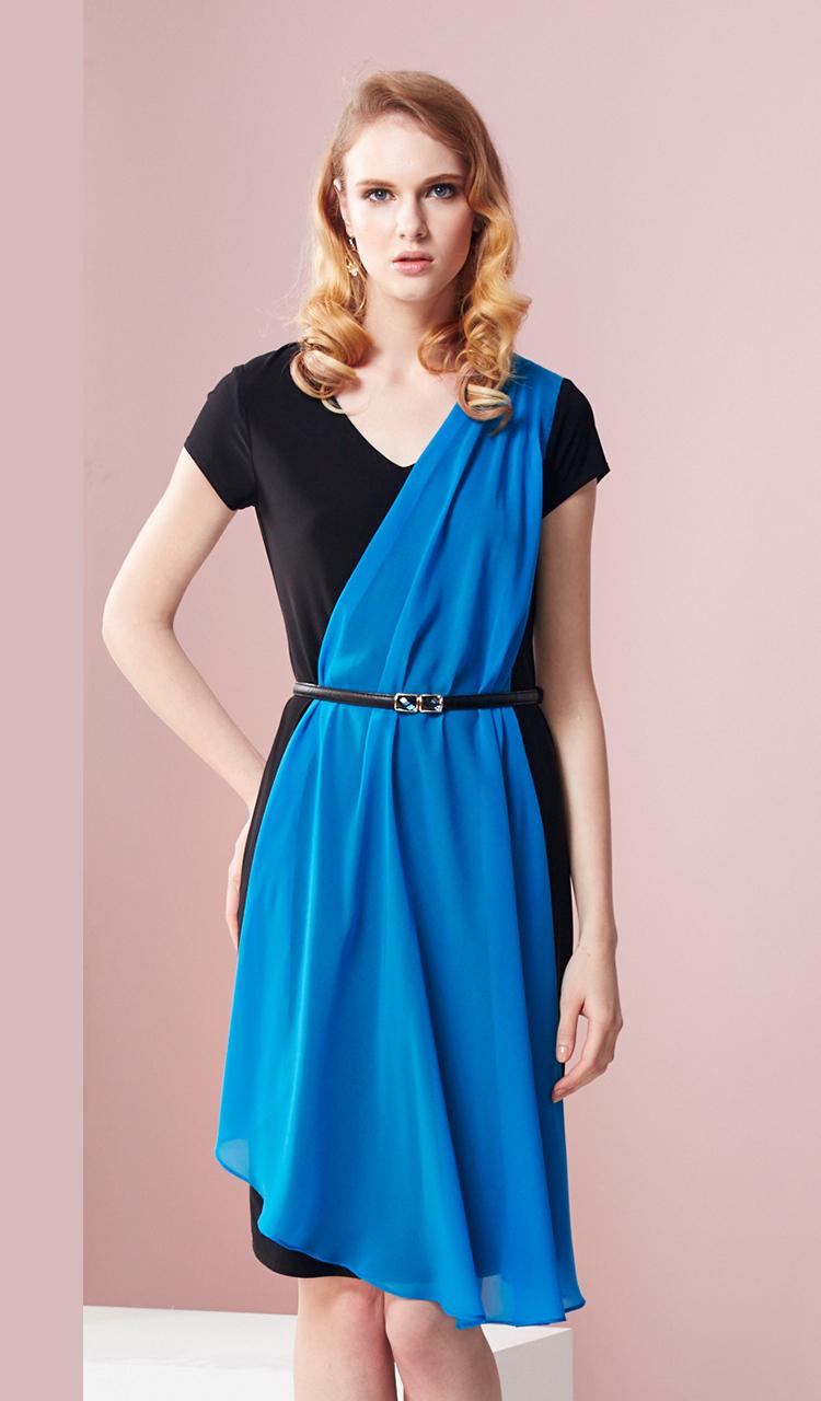 林廷芬服裝設計-Asha- 側邊雪紡變化修飾小腹針織洋裝