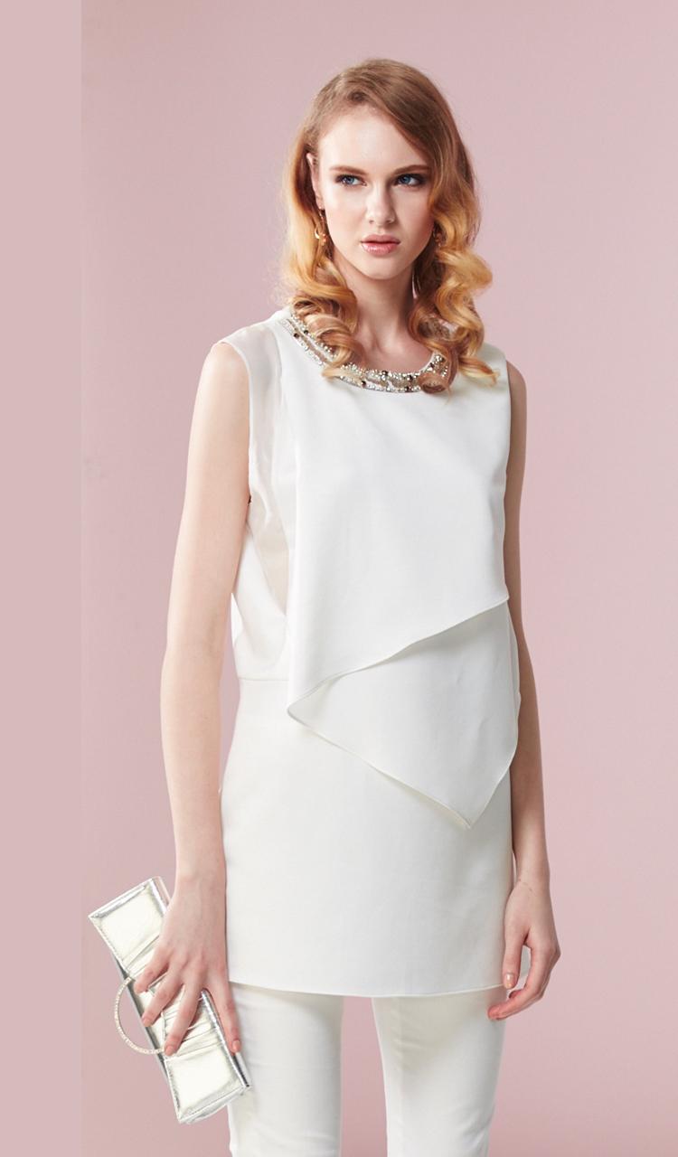 林廷芬服裝設計-Ella- 白色層次設計背心洋裝