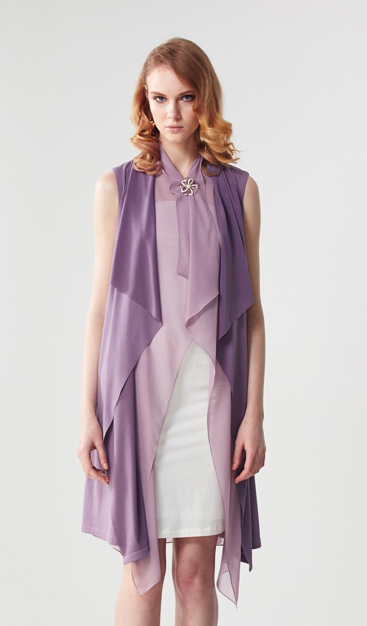林廷芬服裝設計-Layers-多變化穿法針織拼接雪紡無袖罩衫洋裝