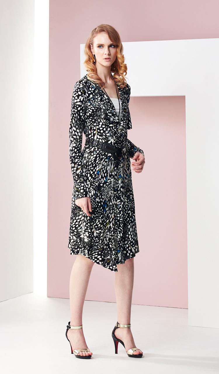 林廷芬服裝設計-Melody- 花色針織多變穿法罩衫洋裝