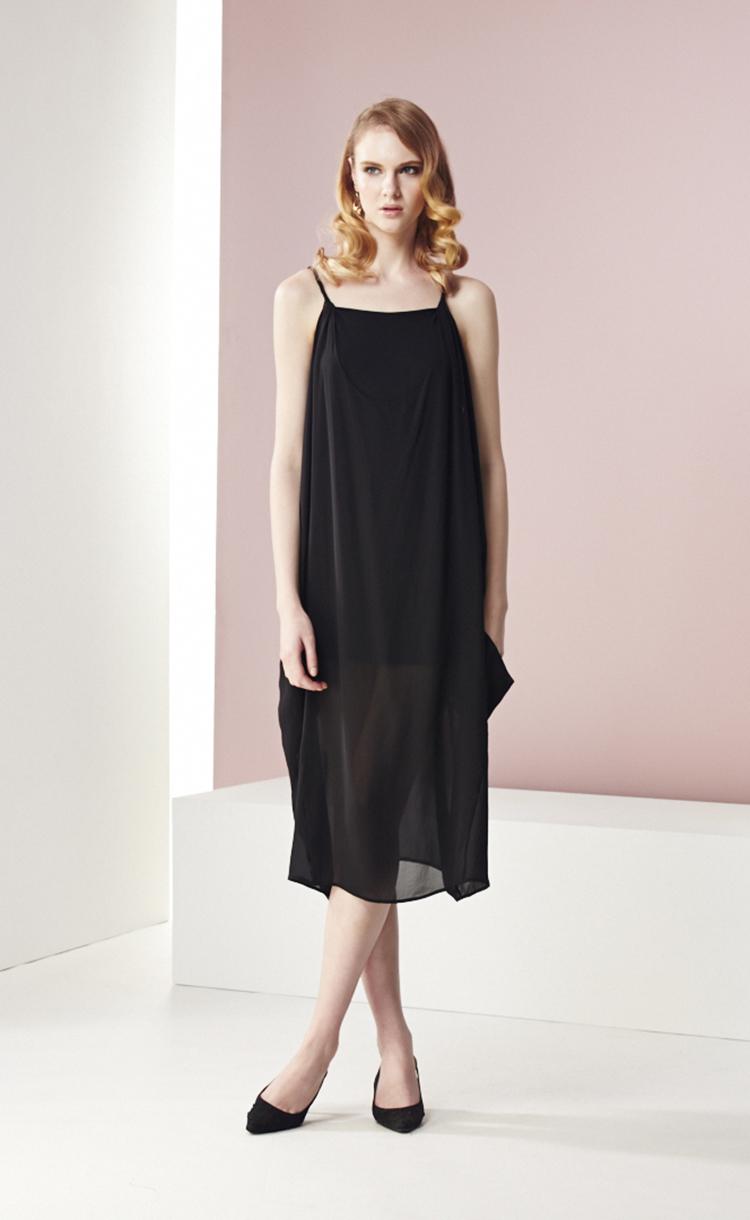 林廷芬服裝設計-Mila-細肩帶雪紡飄逸長洋裝