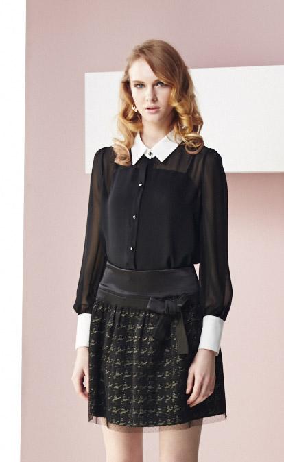 林廷芬服裝設計-Millie-黑色圖紋蝴蝶結短裙