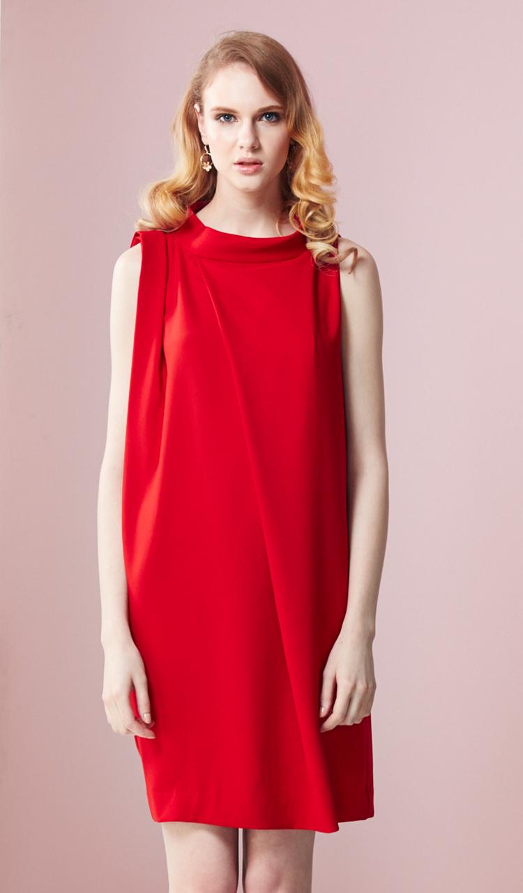 林廷芬服裝設計-Nicole-紅色袖口抓皺設計洋裝