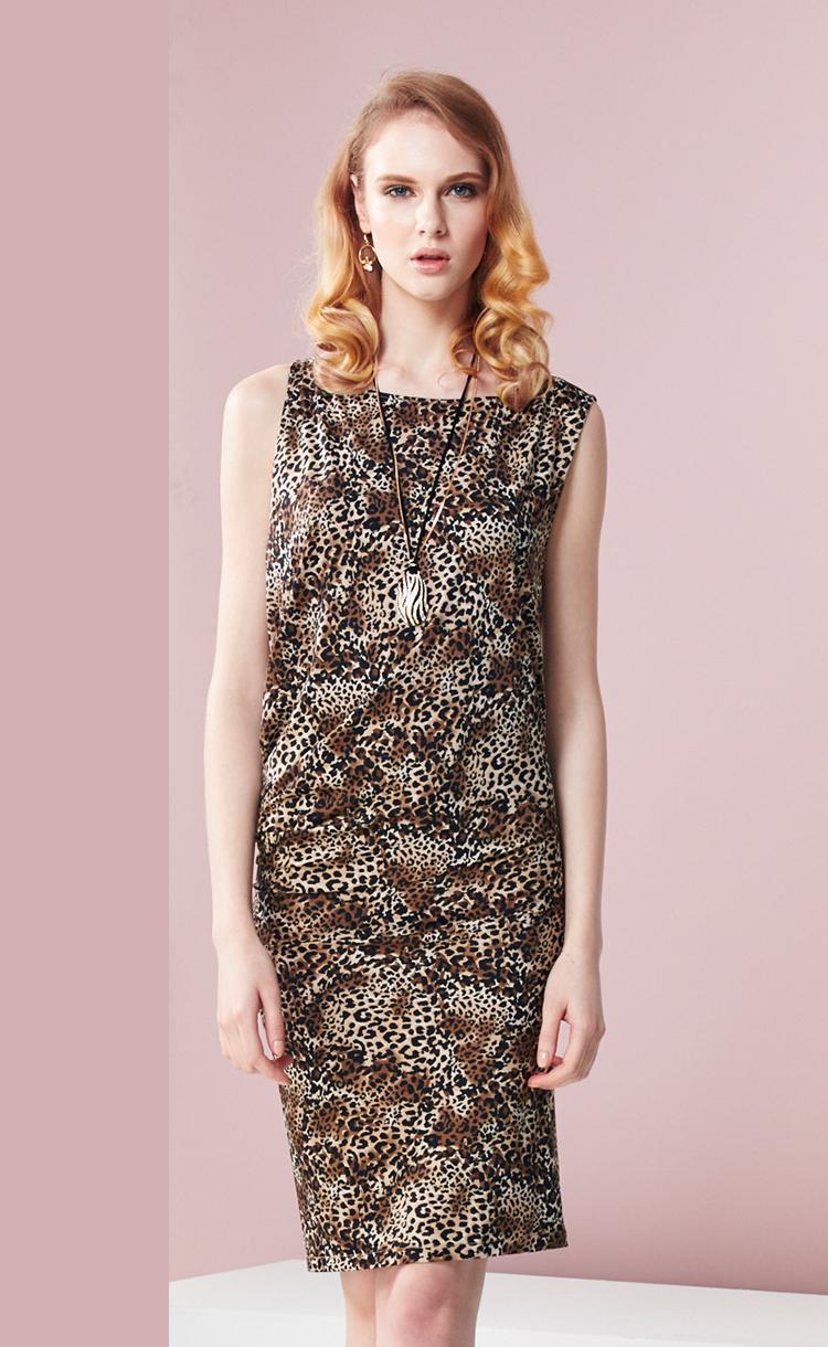 林廷芬服裝設計-Nora-針織豹紋圖驣變化洋裝