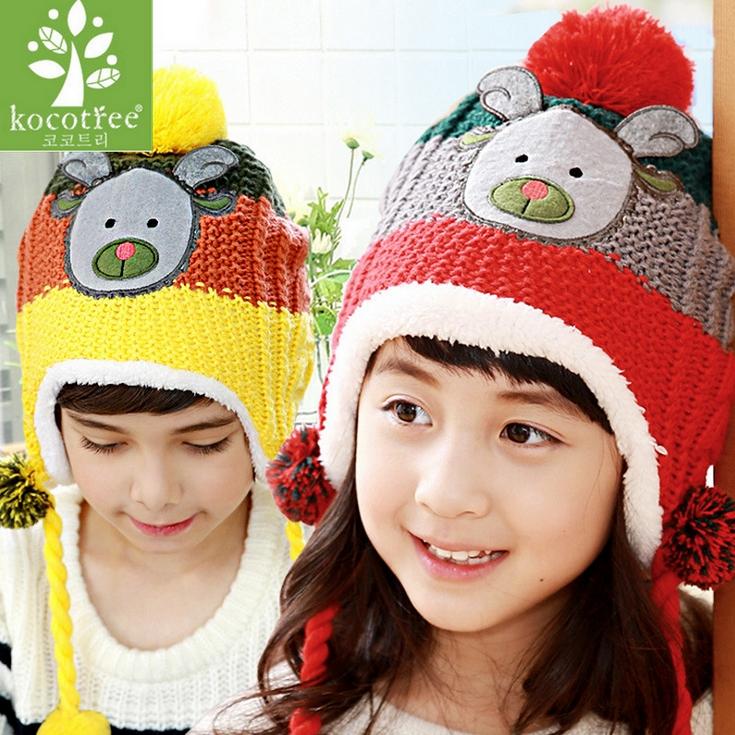 Kocotree◆秋冬聖誕時尚麋鹿造型立體毛球可拆卸絨球辮2way兒童毛線護耳帽
