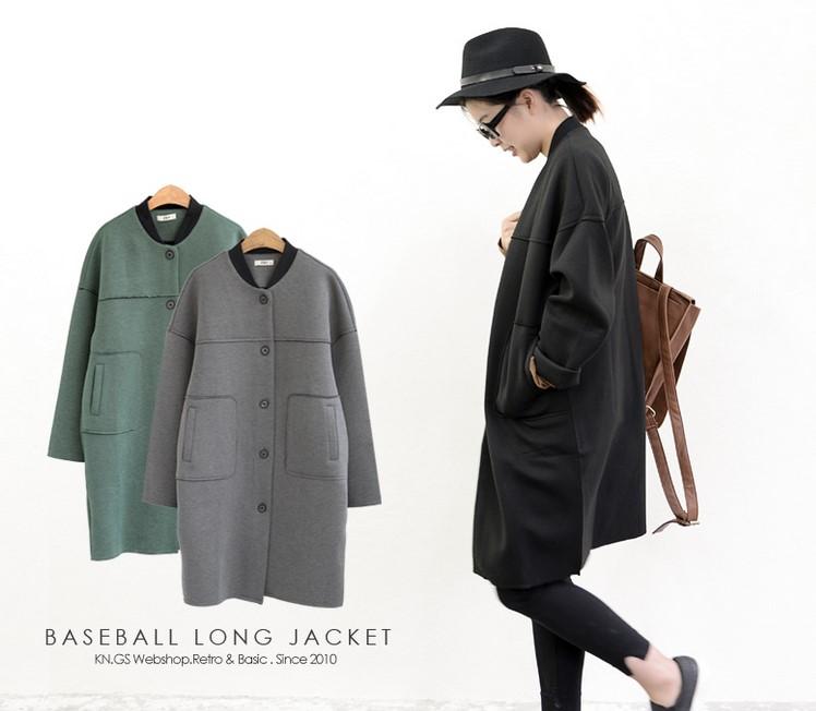 滿700再折$100 [紐約行]韓系簡約太空棉寬鬆棒球領型通勤穿外套大衣 - 御聖願