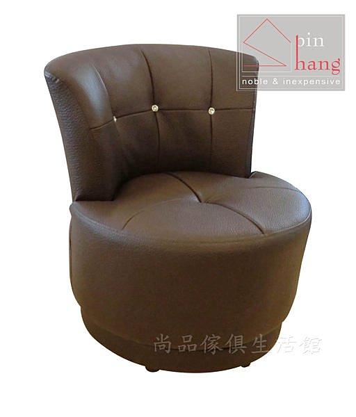 【尚品傢俱】248-02 克莉 半牛皮咖啡厚皮旋轉椅/單人沙發