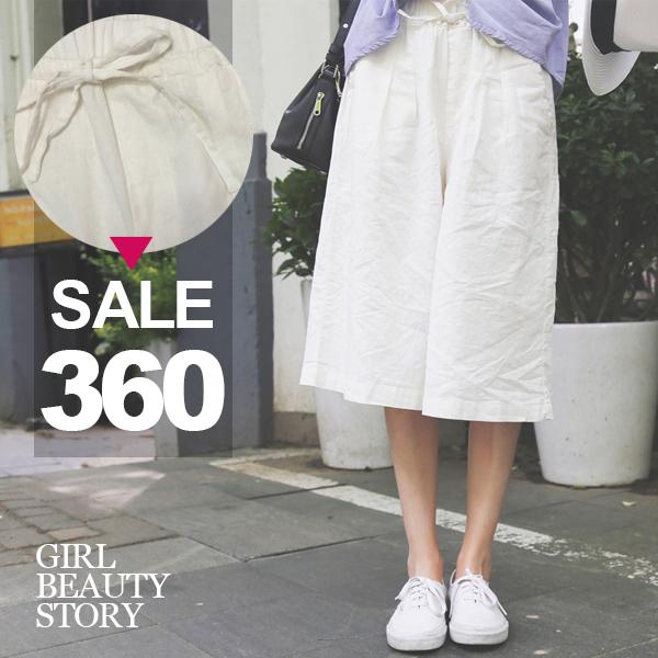 SISI【P6050】復古休閒舒適平口鬆緊抽繩純色七分寬管褲棉麻褲
