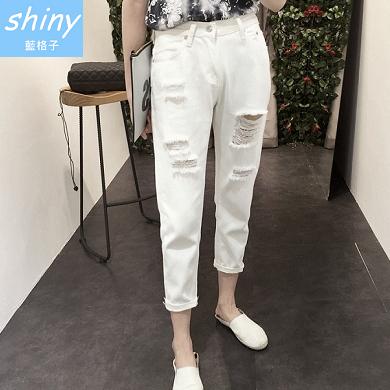 【V0896】shiny藍格子-休閒樂章.磨破寬鬆小腳哈倫九分牛仔褲