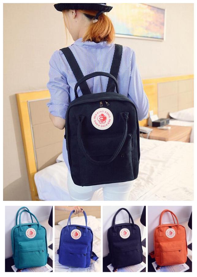 日韓風學院風猴子徽章帆布後背包書包手提包