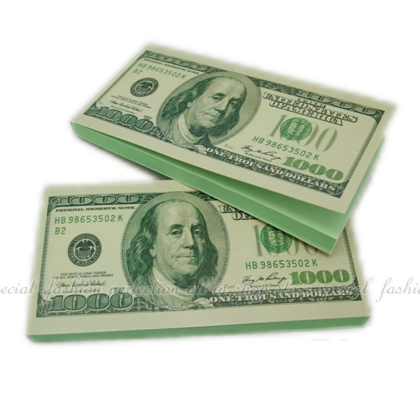 美金便條紙 創意KUSO 美金1000元造型便條紙本 美鈔富蘭克林【GC389】◎123便利屋◎