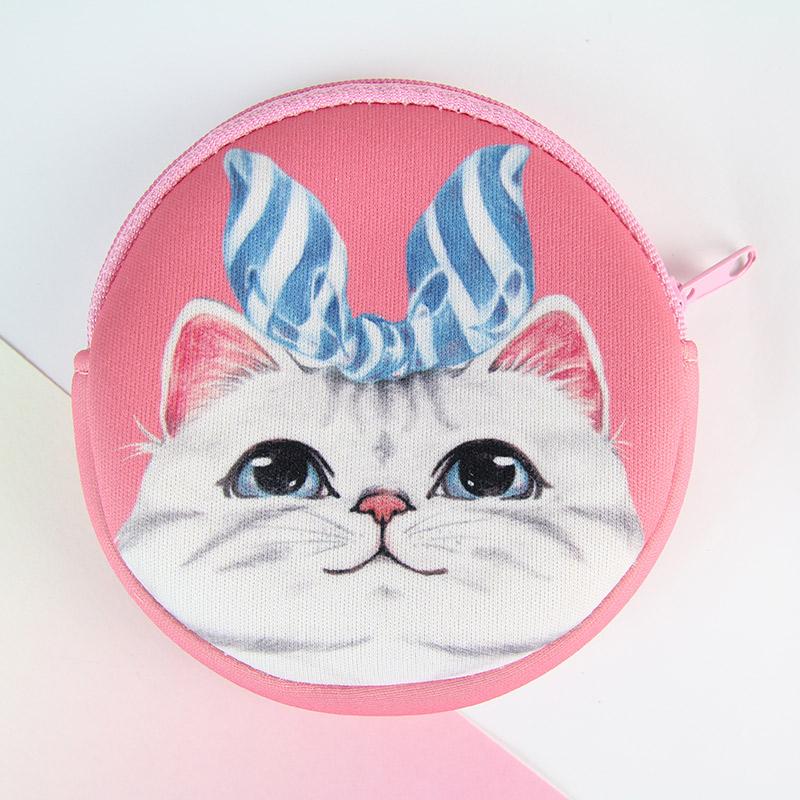 i money零錢包 手繪風系列-藍絲帶 貓咪 美國短毛貓 寵物 粉紅