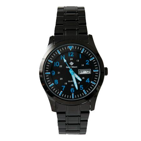 手錶 型男軍用藍色刻度全黑不鏽鋼腕錶 搭戴SEIKO精工VX43石英機芯 柒彩年代【NE1811】30米防水