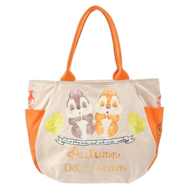 【真愛日本】16101200079  專賣店手提側背包-秋日派對奇蒂    迪士尼 花栗鼠 奇奇蒂蒂 松鼠 手提包 肩背包  托特