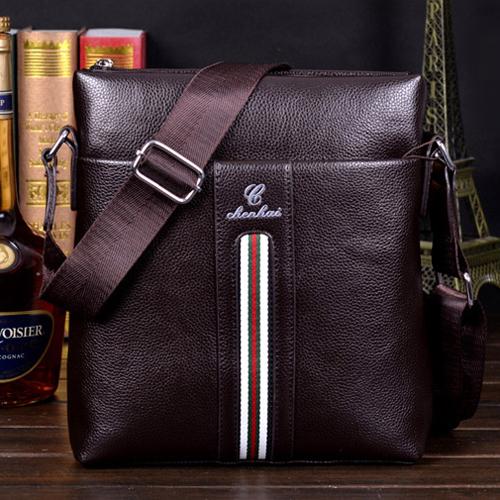 斜背包-頂級商務撞色拼接條紋斜背包 包飾衣院 J1060 現貨