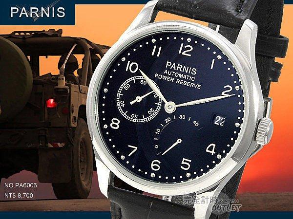 【完全計時】手錶館│PARNIS 瑞典軍錶風 動力儲存 自動機械錶 PA6006 現貨 經典九點小秒 禮物