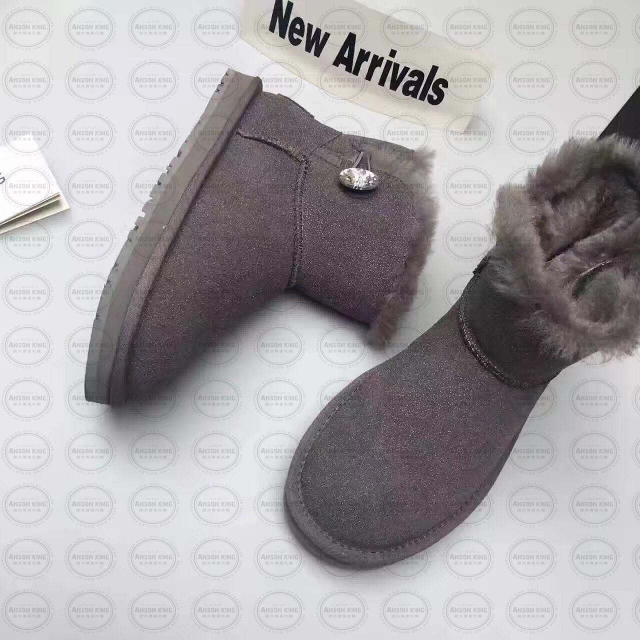 OUTLET正品代購 澳洲 UGG 明星同款水晶扣短靴 保暖 真皮羊皮毛 雪靴 短靴 灰色