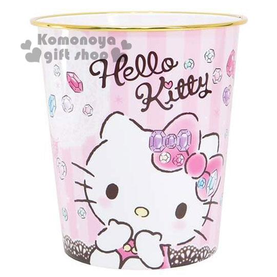〔小禮堂〕Hello Kitty 圓形垃圾桶《粉.寶石.蕾絲.大臉摸下巴》美觀居家