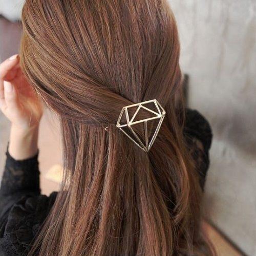 PS Mall 韓版新品髮飾鑽形髮夾鑽石邊夾金屬頂夾馬尾夾髮夾 【G2079】
