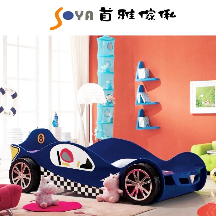 [首雅傢俬] 超帥氣 立體輪 跑車床 造型床 兒童床 3呎 3尺 單人床 床架 紅/藍色款 預購