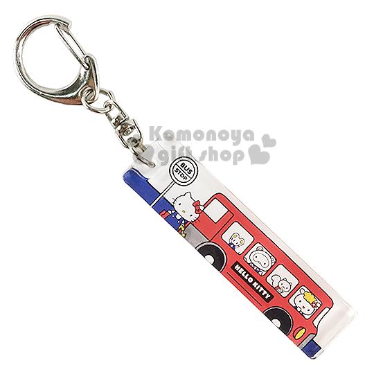 〔小禮堂〕Hello Kitty 壓克力鑰匙圈《白.紅校車.朋友.長方型》