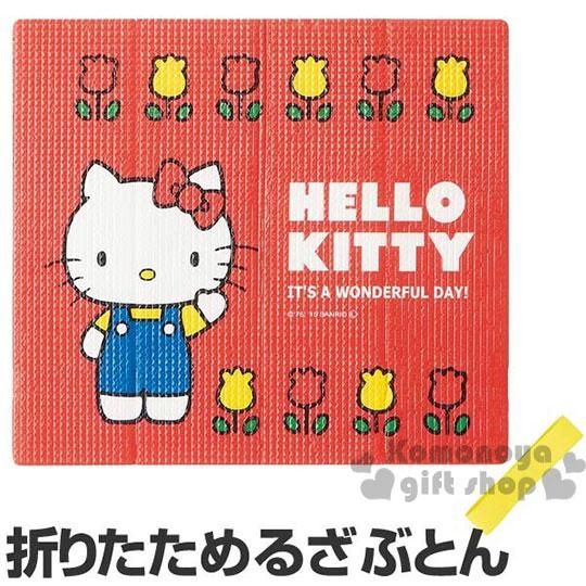 〔小禮堂〕Hello Kitty 附束帶折疊式坐墊《大.紅.鬱金香.70年代系列》居家.汽車內使用