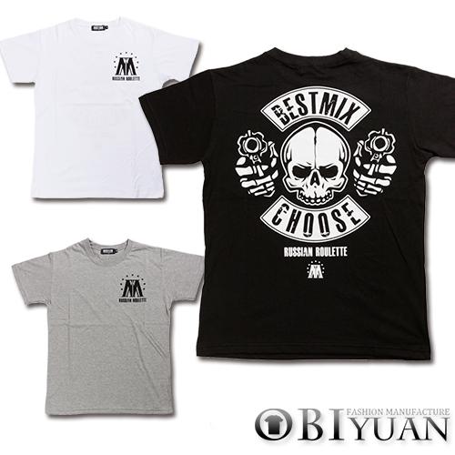 短T【ZT5476】OBI YUAN韓版美式復古後背雙槍骷顱字母印花短袖T恤共3色