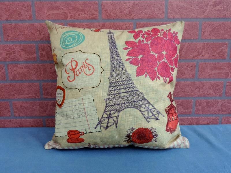45X45棉麻沙發靠墊《LS16》另有美式鄉村巴黎鐵塔棉麻抱枕 車用靠枕 含枕心 居家布置◤彩虹森林◥