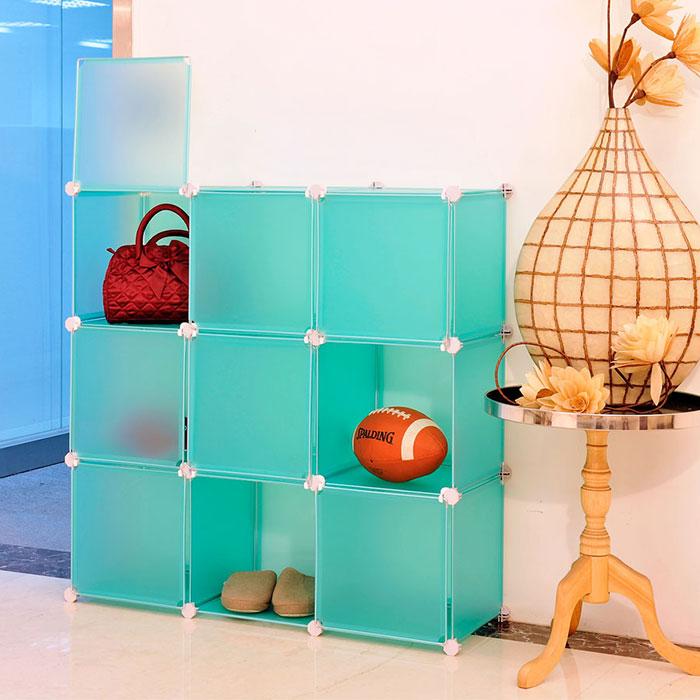 【ikloo】diy家具9格附門收納架/組合櫃