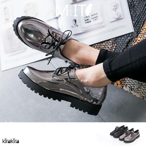 牛津鞋 MIT帥氣貴族綁帶 Q底低跟紳士鞋【011600061】-預購