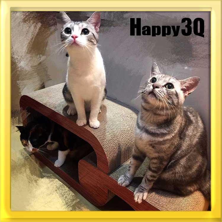 寵物貓沙發寵愛貓咪玩耍休息睡覺磨爪喵星人客廳擺飾貓玩具趣味Q字型瓦楞紙大型貓抓板【AAA0790】