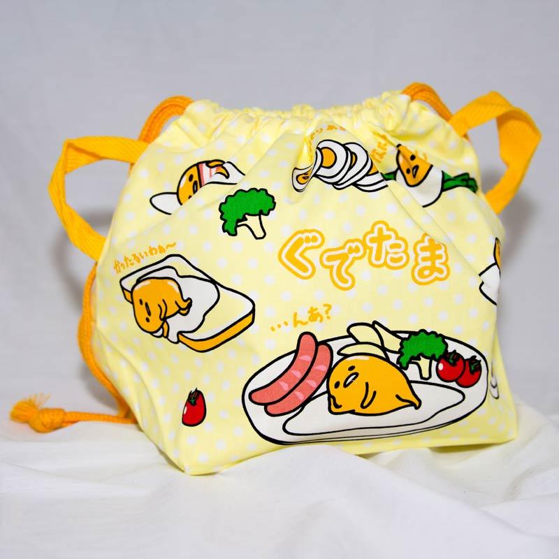蛋黃哥 立體雙面 綿質束口袋 便當袋 日本製 正版商品