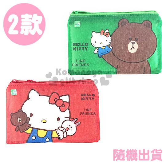 〔小禮堂〕Kitty X Line 單層文件資料袋《小.2款.隨機出貨.紅/綠》網狀透明拉鍊袋