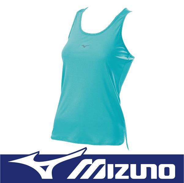 MIZUNO 美津濃 女性 運動路跑背心 瑜珈背心 吸汗快乾 防曬 反光 J2TA670633 素色 蒂芬妮綠