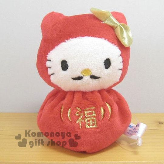 〔小禮堂〕Hello Kitty 造型絨毛沙包娃娃《S.紅.不倒翁.翹鬍子.圓身體》