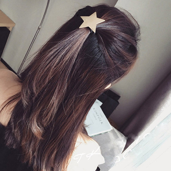 PS Mall 韓版新款髮飾簡約拉絲磨砂星星五角星髮繩髮圈皮筋金屬頭飾【G2088】