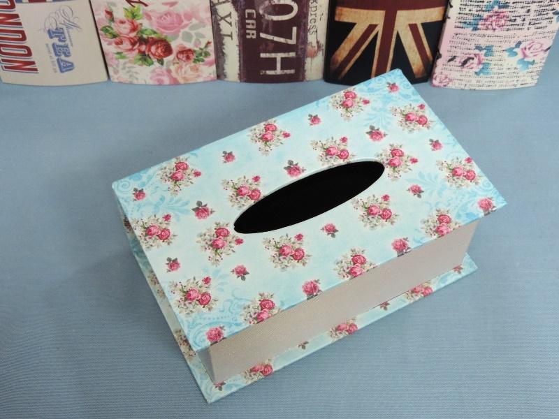 ◤彩虹森林◥《玫瑰花》 書本造型面紙盒 木製皮革面紙盒 磁扣式 收納盒 發票桶 鄉村英倫風