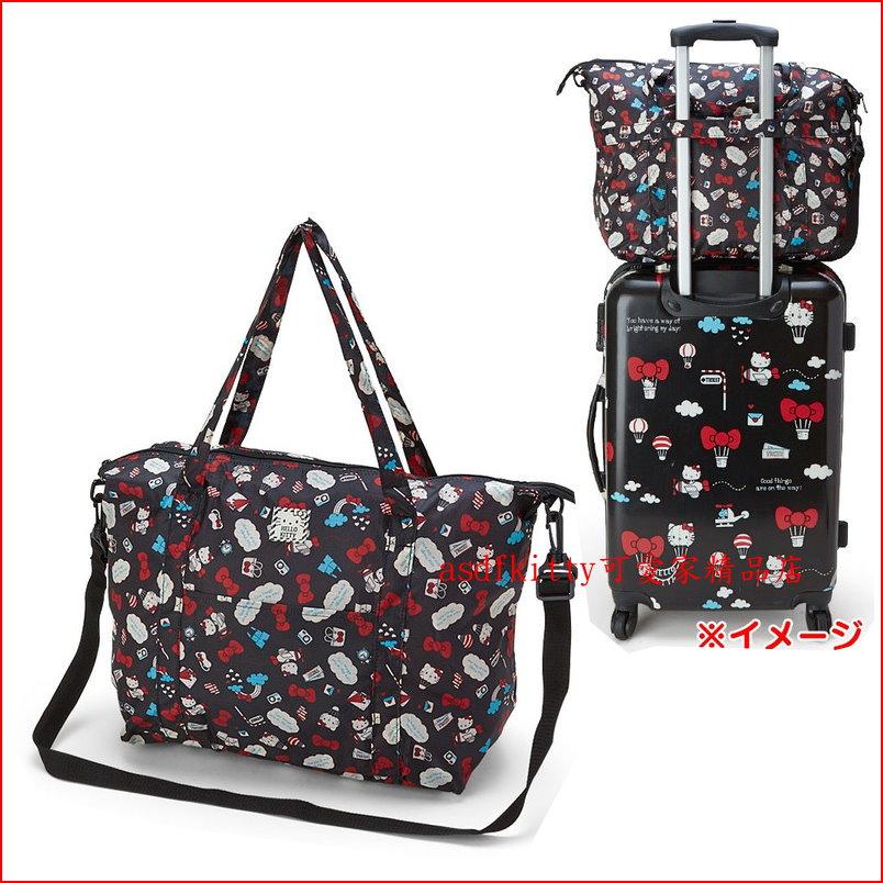 asdfkitty可愛家☆KITTY輕量黑旅行風行李箱拉桿手提袋/斜背包-可收納購物袋/波士頓包-日本正版商品