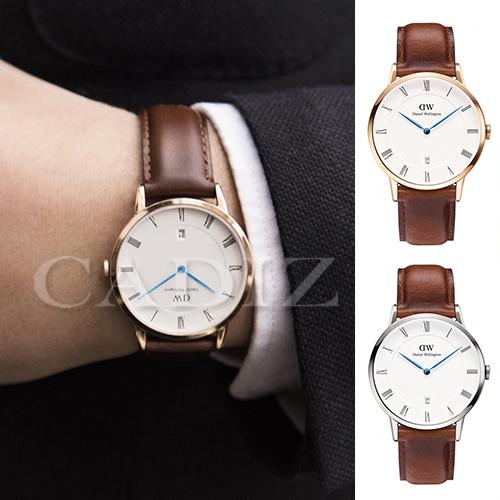 【Cadiz】瑞典正品 Daniel Wellington DW錶 1100DW金 1120DW銀 Dapper St Mawes 3.8MM 棕色皮革 羅馬藍色指針日期窗 新款 對錶 情侶錶 男女錶  [代購/ 現貨]