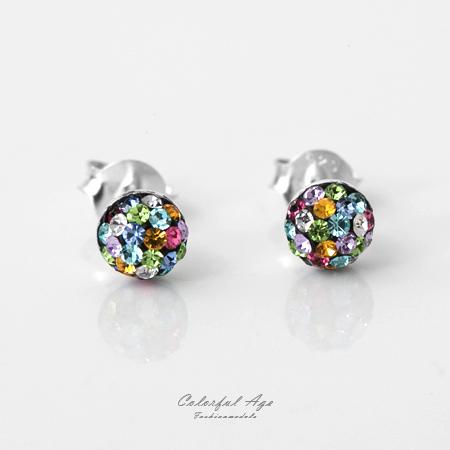 925純銀耳針耳環 光芒四射圓型彩色鑽設計耳環 繽紛配色 抗過敏抗氧化 柒彩年代【NPD19】一對價格