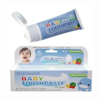 【全系列滿$500送夜燈玩具】台灣【Kuku 酷咕鴨】水果口味幼兒牙膏