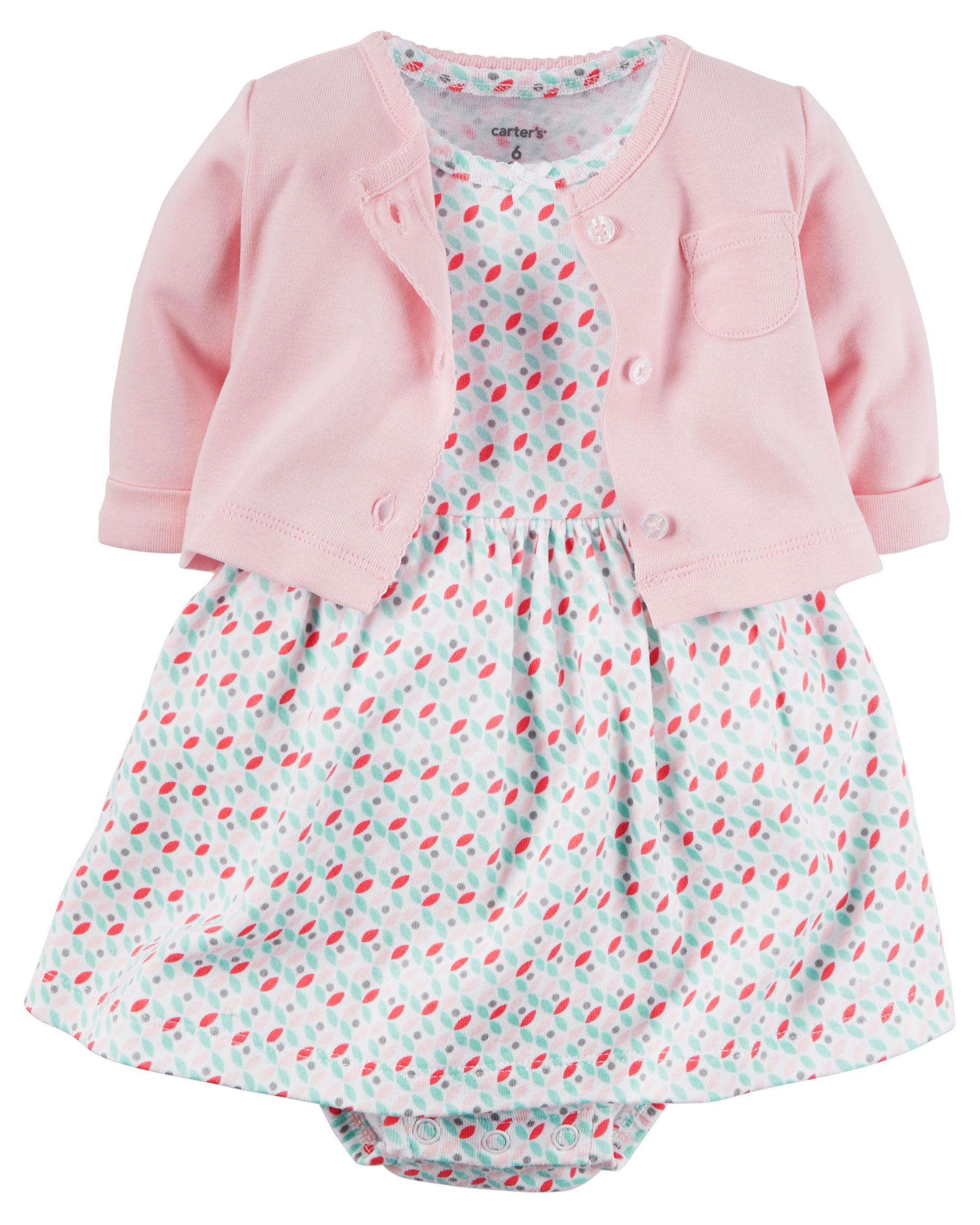 【美國Carter's】套裝2件組-粉嫩圖騰包屁式洋裝+純棉小外套#126G284