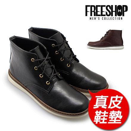 登山靴 Free Shop【QSH0545】嚴選質感素面真皮鞋墊舒適圓頭中高筒軍靴登山靴 二色 (FAP101) MIT台灣製