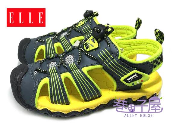 【巷子屋】ELLE 男童寬楦護趾機能運動涼鞋 [50205] 綠 超值價$398
